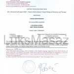 Certificate of completion Deep Tissue Massage - Translation.