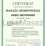 Certificate of completion Sports Massage.