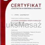 Certificate of participation in the Conference for Physiotherapy in Oncology.