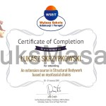 Certificate of completion of Advanced course of Structural Bodywork.