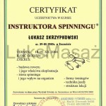 Certificate of completion Spinning Instructor.