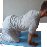 The mobilization of active combined lumbar in the middle - slope backwards.