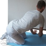 The mobilization of active combined lumbar in the middle - slope backward slope to the left.