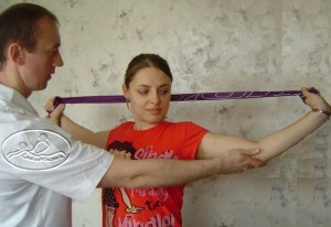 strengthening exercise using a flexible band.